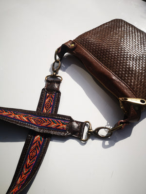 Leather and embroidery Strap