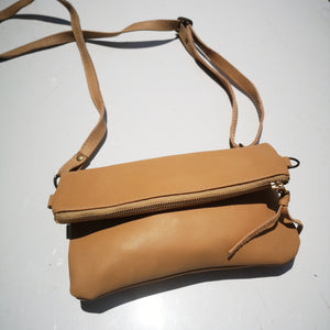 Mini fold over cross-body handbag- beige