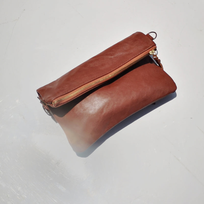 Mini fold over cross-body handbag- Tuscan brown