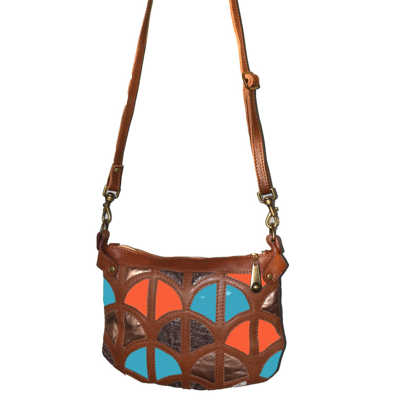 Monica cross-body bag-Tan, light blue and coral