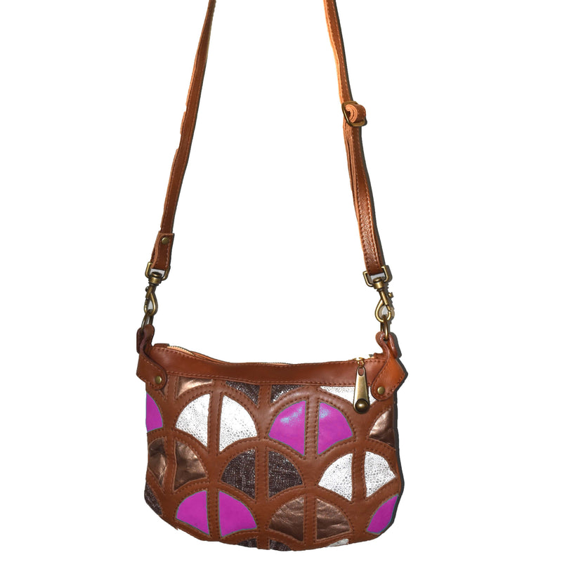 Monica cross-body bag-Tan and pink