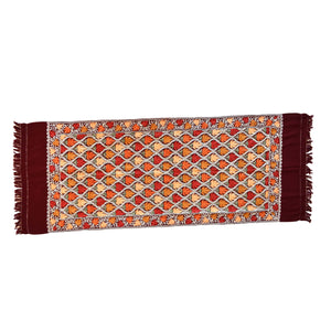 Autumn leaves chain stitch wool scarf- 004 - Mandara bags
