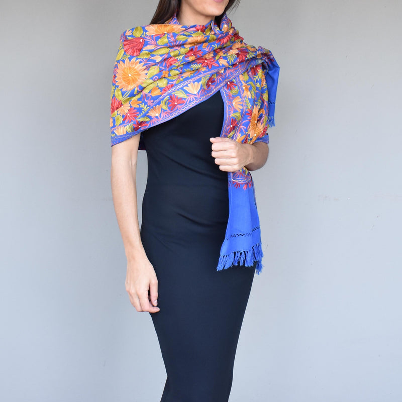 Floating garden chain stitch wool scarf- 003 - Mandara bags