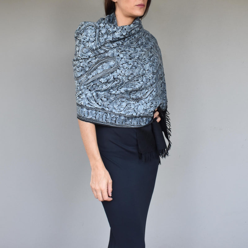 Grey chain stitch wool scarf- 003 - Mandara bags