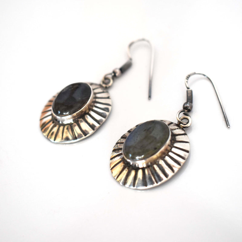 Labradorite silver drop earrings - Mandara bags