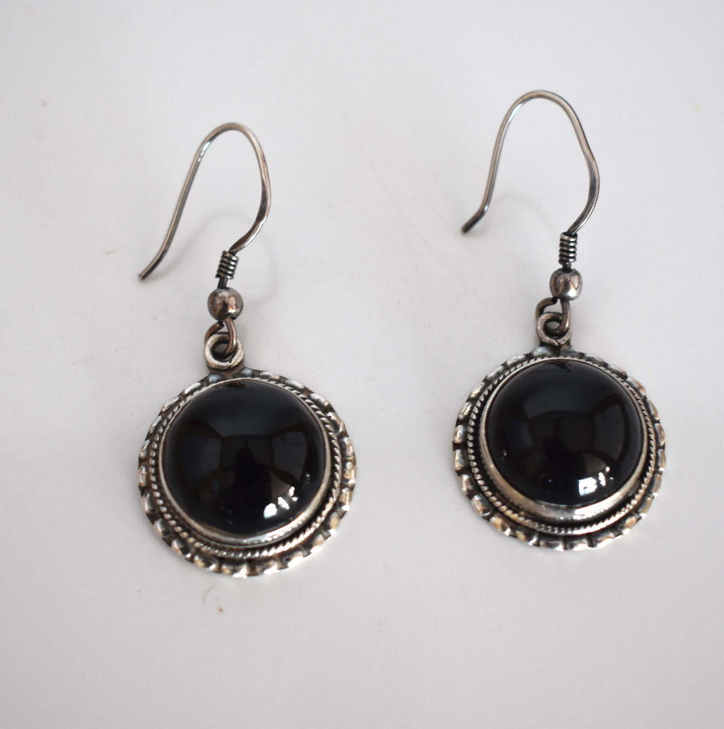 Onyx silver drop earrings - Mandara bags