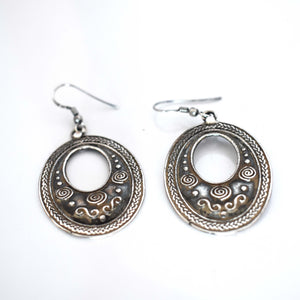 Round silver drop earrings - Mandara bags