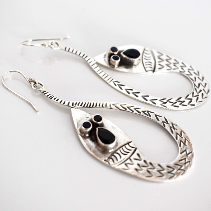 Snake earrings- Silver - Mandara bags
