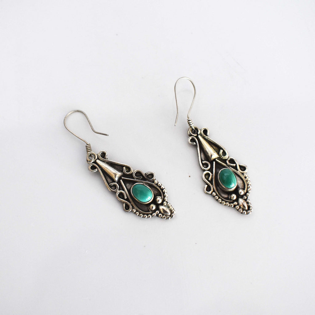 Turquoise silver drop earrings - Mandara bags