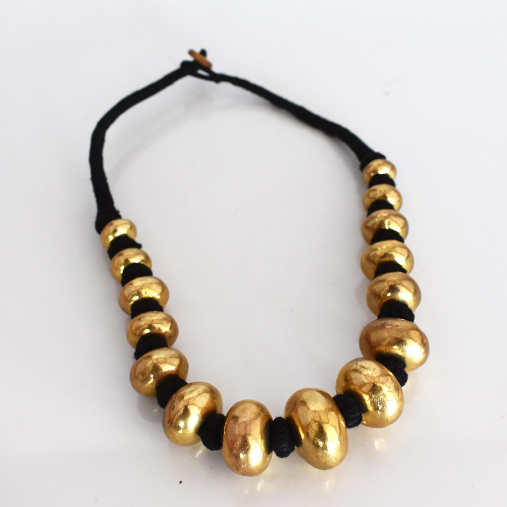 Brass statement beaded necklace-001 - Mandara bags