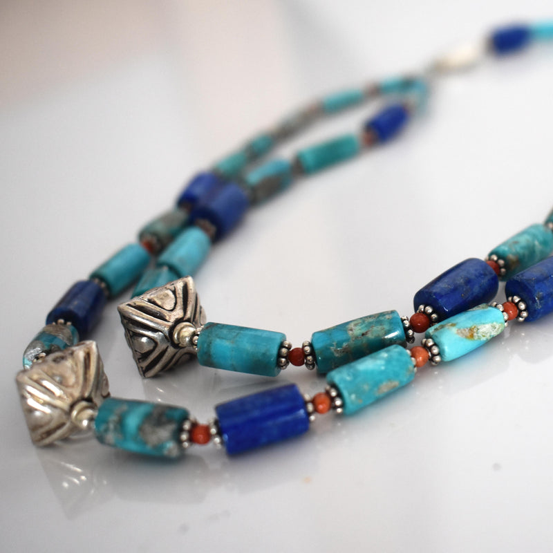 Lapis lazuli and turquoise beaded necklace- 002 - Mandara bags