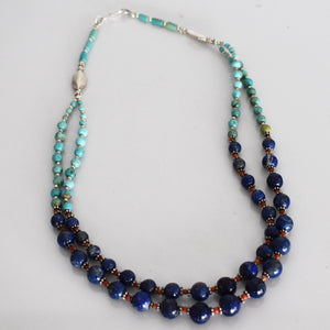 Lapis lazuli and turquoise beaded necklace - Mandara bags