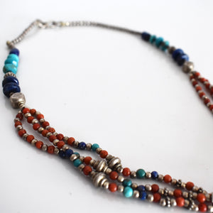 Vintage Coral, turquoise and lapis beaded necklace - Mandara bags