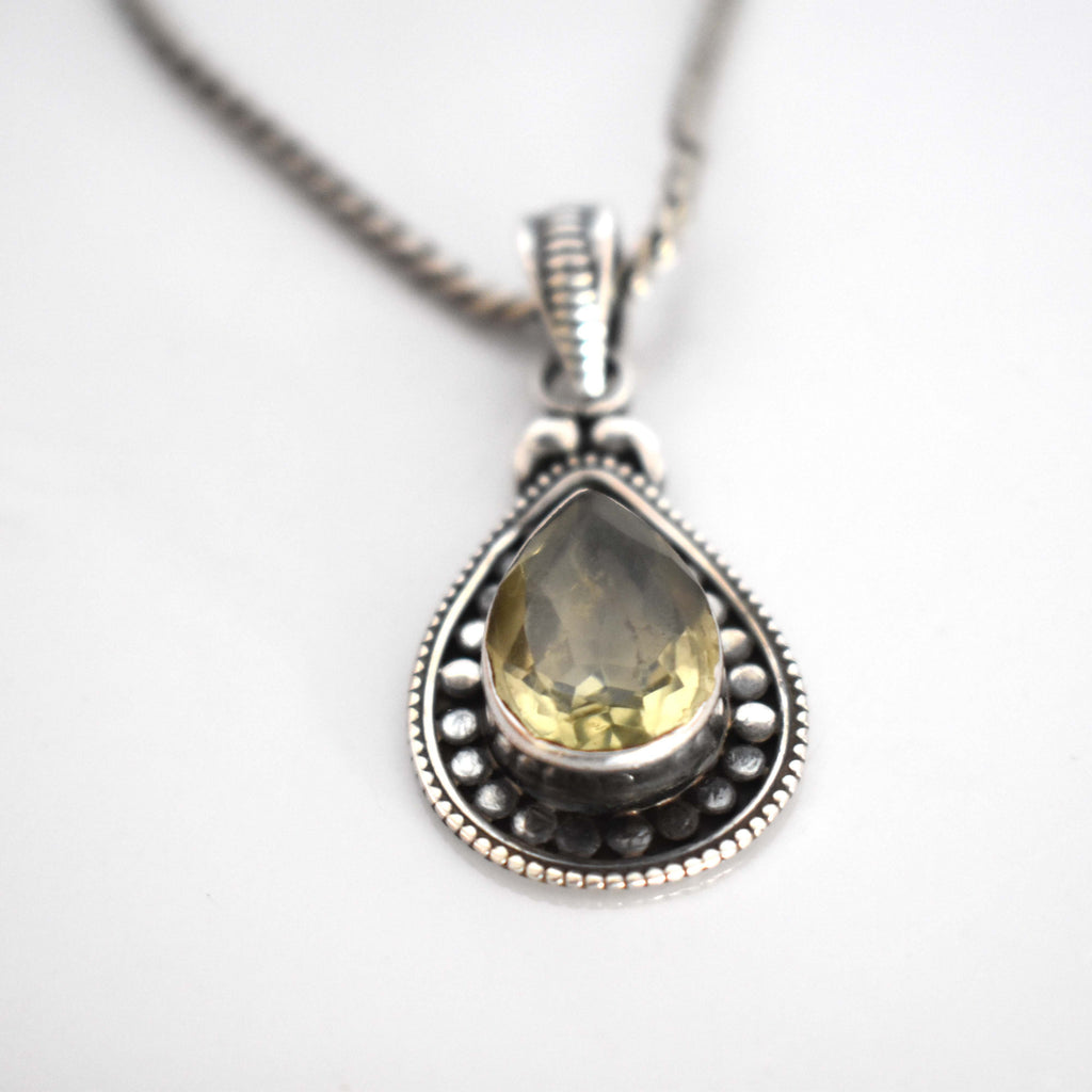 Lemon topaz and silver pendant - Mandara bags