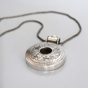 Traditional Tibetan silver pendant with hole - Mandara bags