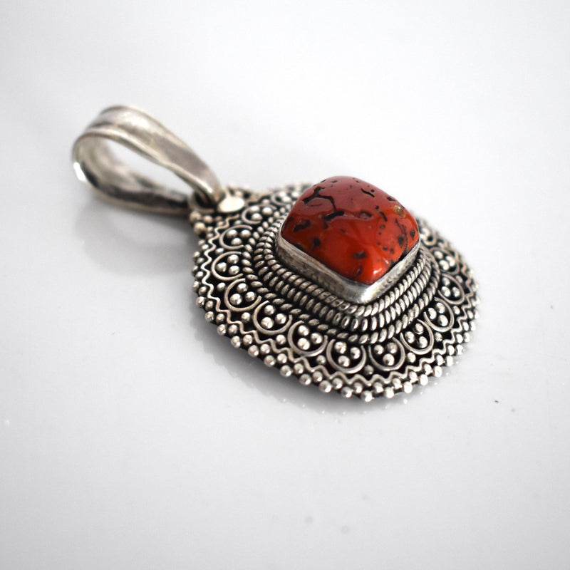 Vintage Traditional Tibetan silver and coral pendant - Mandara bags