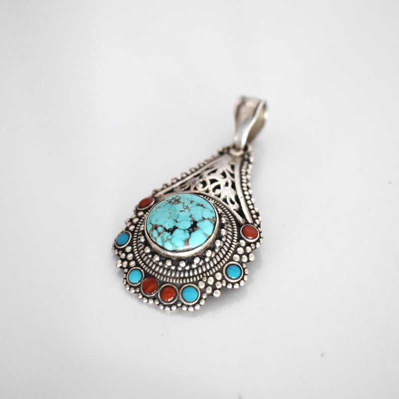 Vintage Traditional Tibetan silver, turquoise and coral pendant - Mandara bags