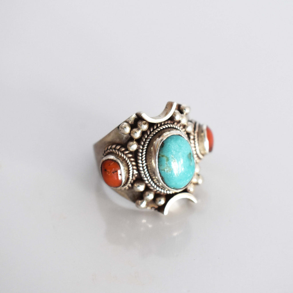 Antique Tibetan turquoise and coral silver ring - Mandara bags