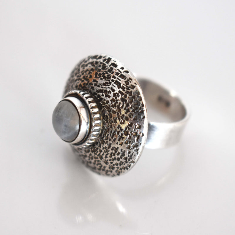 Silver Dome ring with moon stone - Mandara bags
