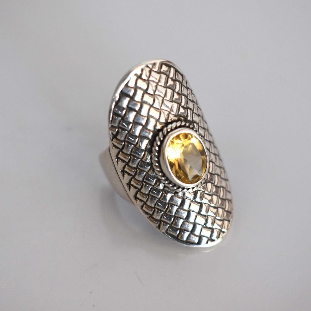 Silver platted ring with citron stone - Mandara bags