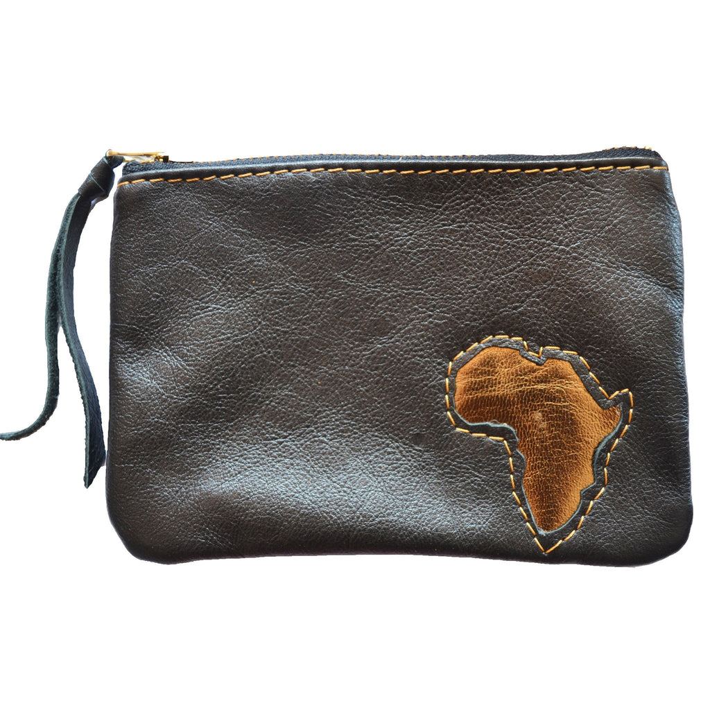 Africa leather zip pouch- black and gold - Mandara bags