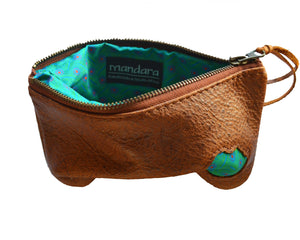 Africa leather zip pouch-long - Mandara bags