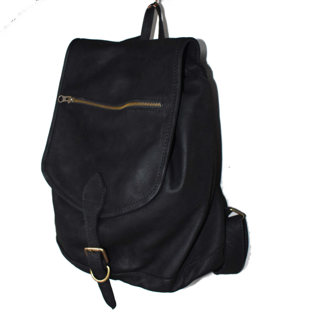Jordan leather Backpack- matte black - Mandara bags