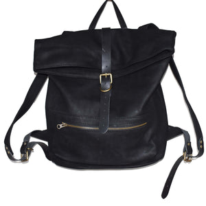 Jones Fold top backpack- Matte black - Mandara bags