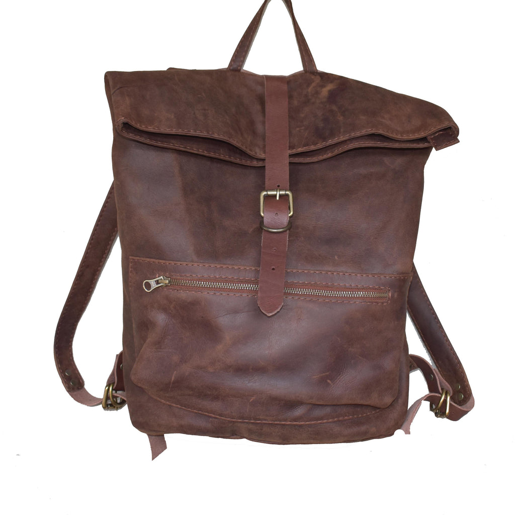 Jones Fold top backpack- Toffee - Mandara bags