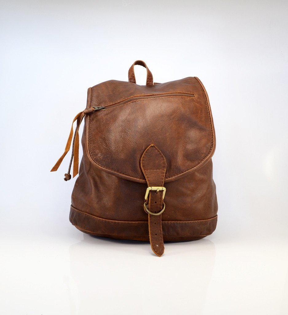 Jordan Acorn brown leather Backpack - Mandara bags