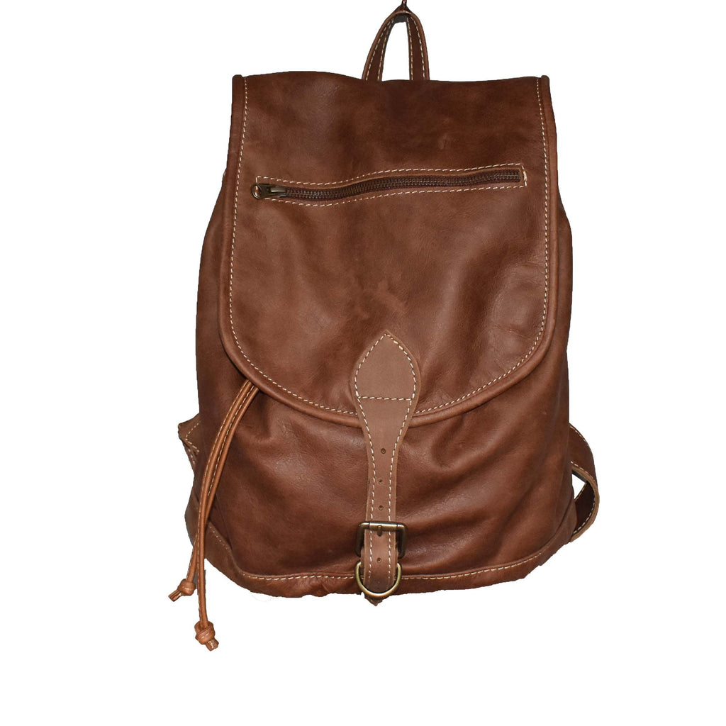 Jordan leather Backpack- toffee - Mandara bags