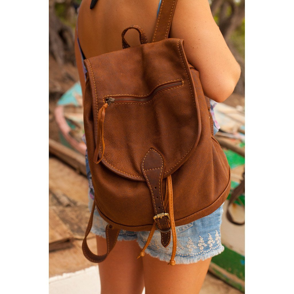 Jordan mottled beige leather Backpack - Mandara bags