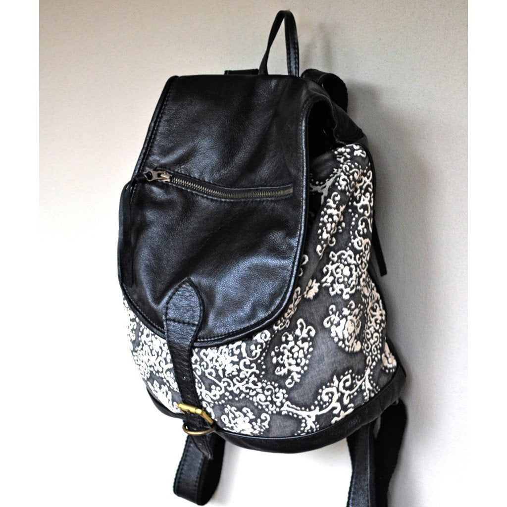 Patina canvas and leather backpack - Mandara bags