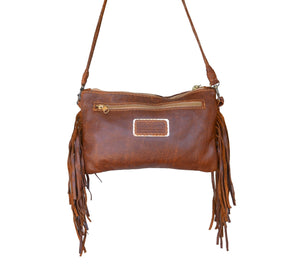 Selene leather tassel Clutch with turquoise - Mandara bags
