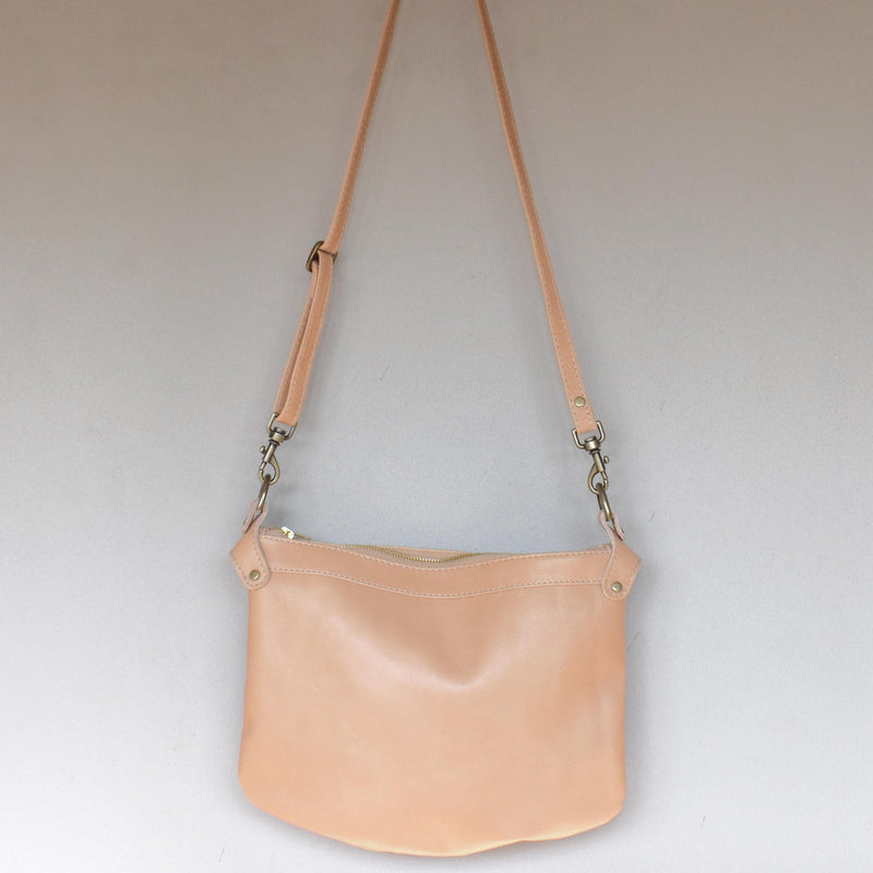 Bianca - Plain Latte cross body bag (large) - Mandara bags