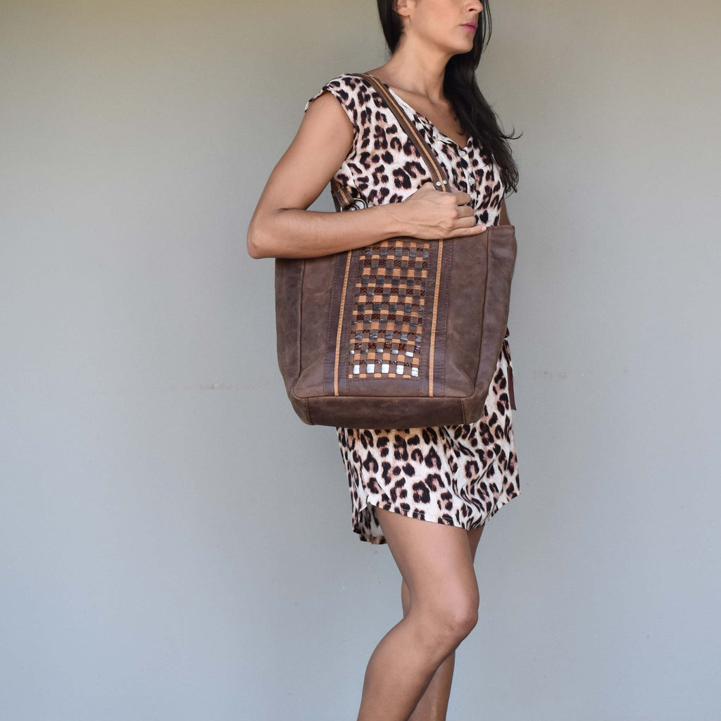 Aria woven leather                                                                                                                                            tote - Mandara bags