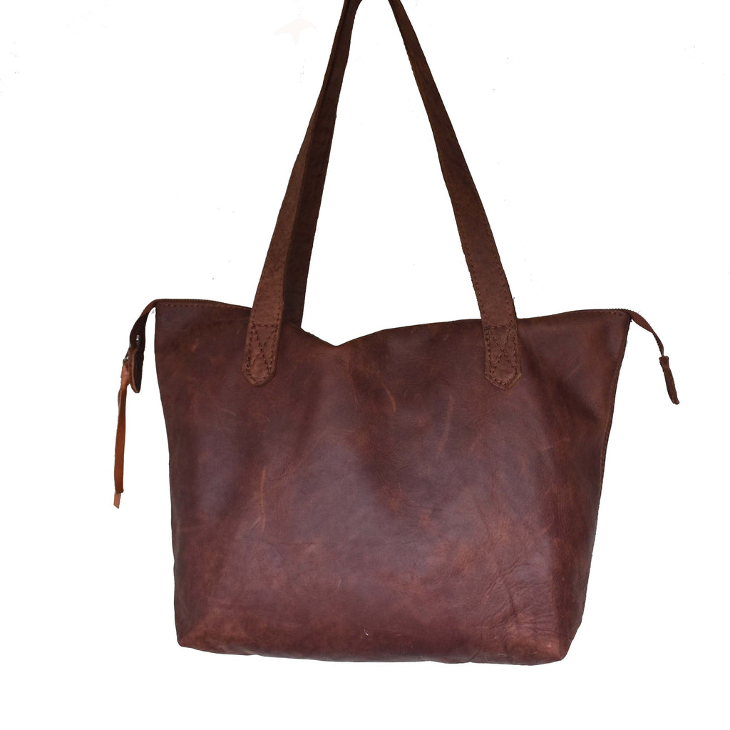The Basic Leather Tote- Diesel brown - Mandara bags