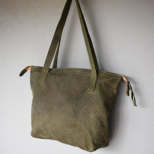 The Basic Leather Tote- Diesel Olive green - Mandara bags
