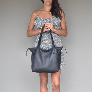 The Basic Leather Tote- Diesel toffee - Mandara bags