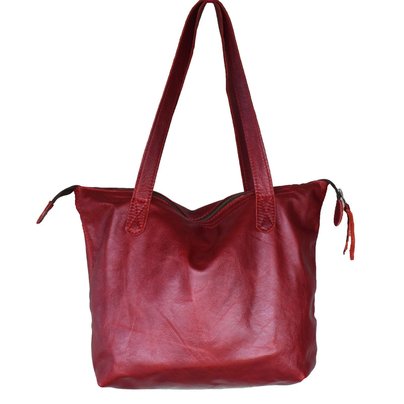 The Basic Leather Tote- Maroon red - Mandara bags