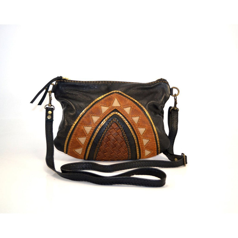 Black Cleopatra cross-body handbag with brown - Mandara bags