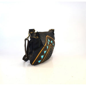 Black Cleopatra cross-body handbag with Turquoise - Mandara bags
