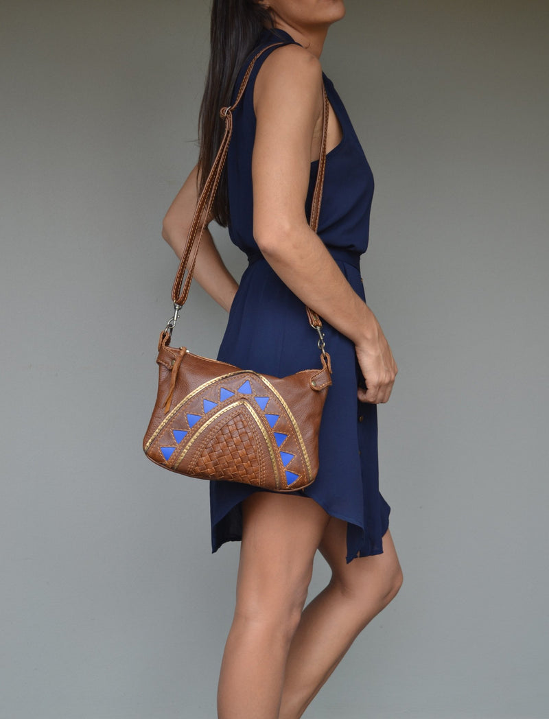 Blue Cleopatra cross body handbag - Mandara bags