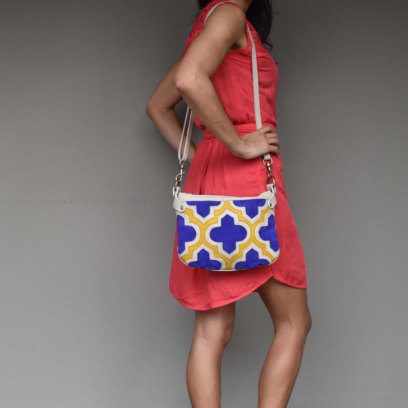 Casablanca cross-body bag- blue and yellow - Mandara bags