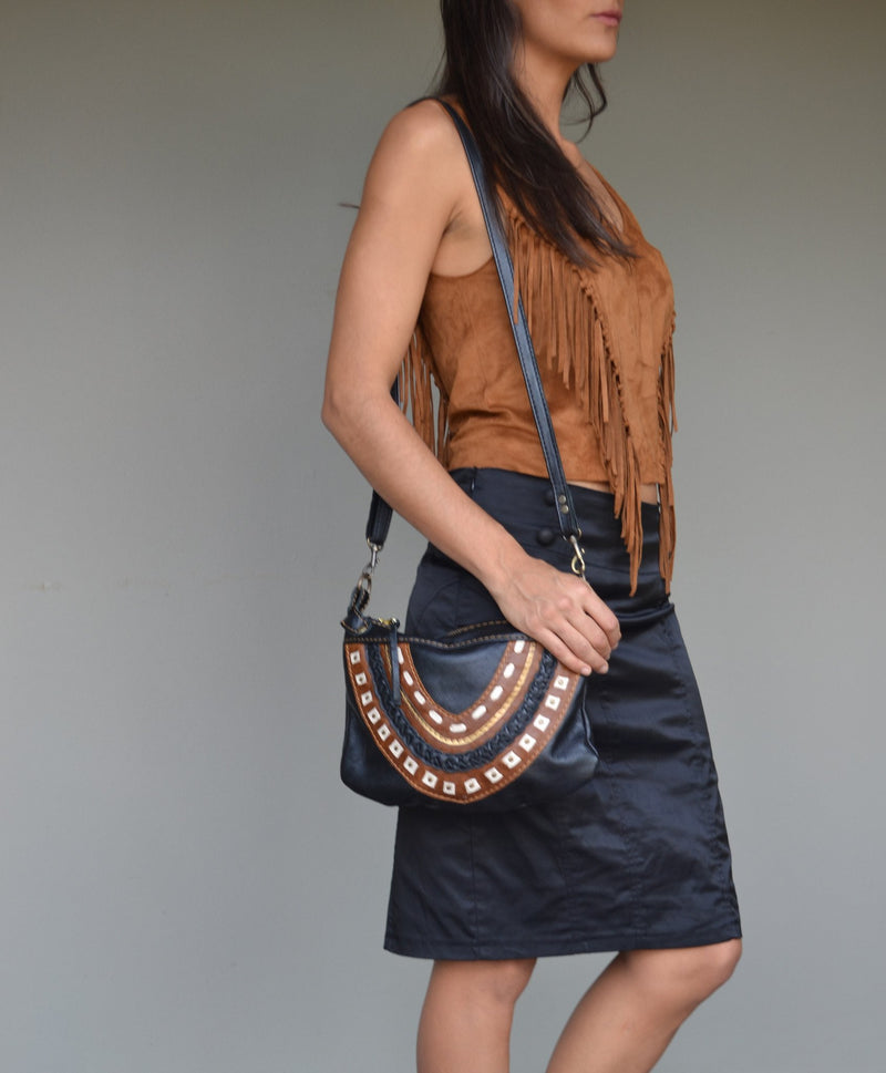 Frida cross-body bag- black & brown - Mandara bags