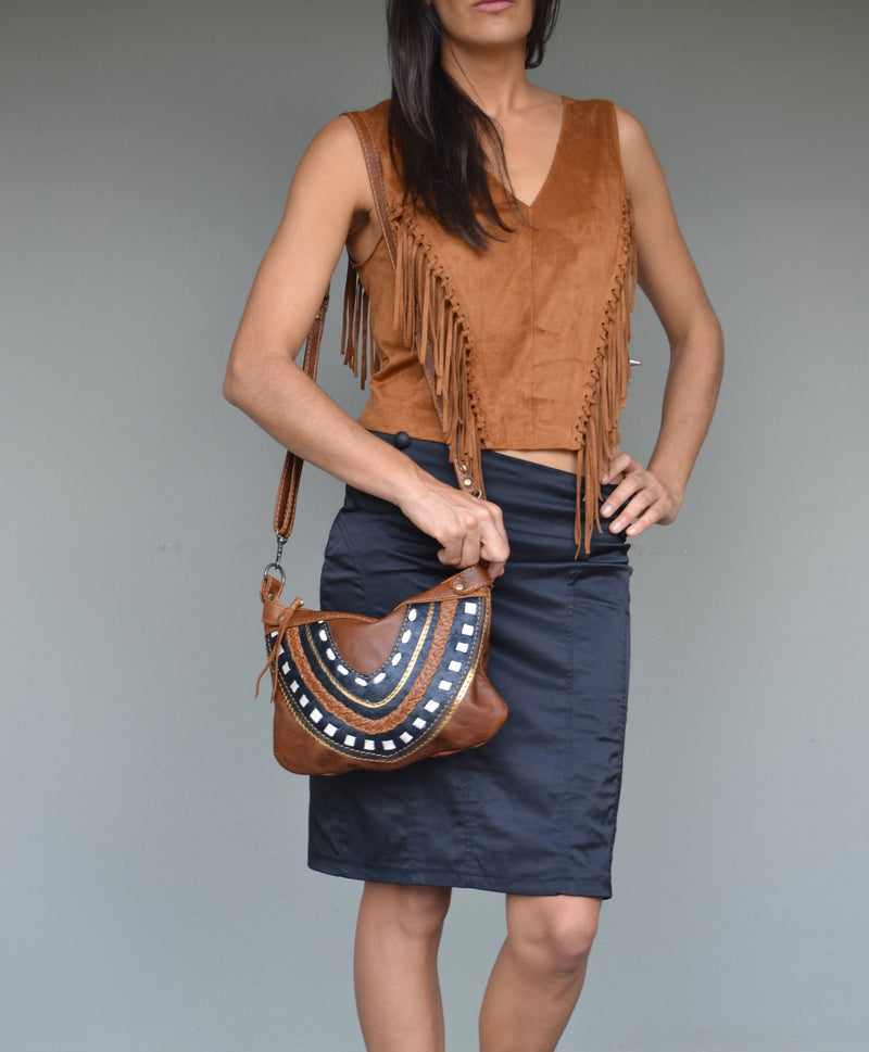 Frida cross-body bag- brown and black - Mandara bags