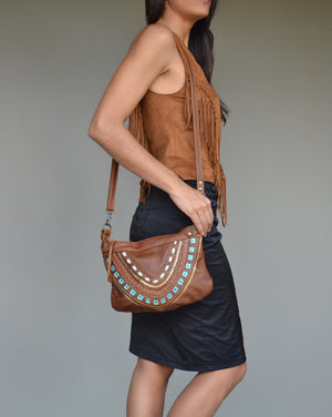 Frida cross-body bag- brown with turquoise detail - Mandara bags