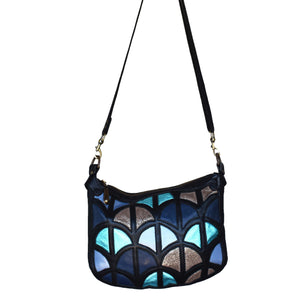 Large Monica cross-body bag- Black and metallic leather - Mandara bags