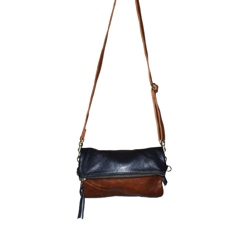 Mini fold over cross-body handbag- black and brown - Mandara bags