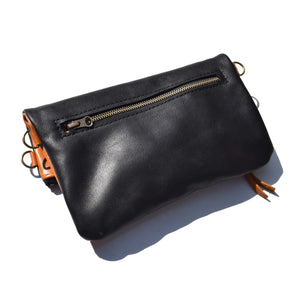 Mini fold over cross-body handbag- black and camel - Mandara bags